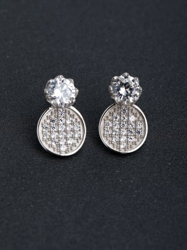 Bling bling zircon Gold and silver color 925 silver Stud earrings
