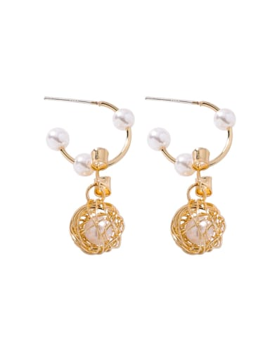 Alloy With 18k Gold Plated Fashion Ball  Imitation Pearl Earrings