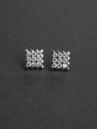 Prism Rhinestone  Glittering 925 Silver Earrings