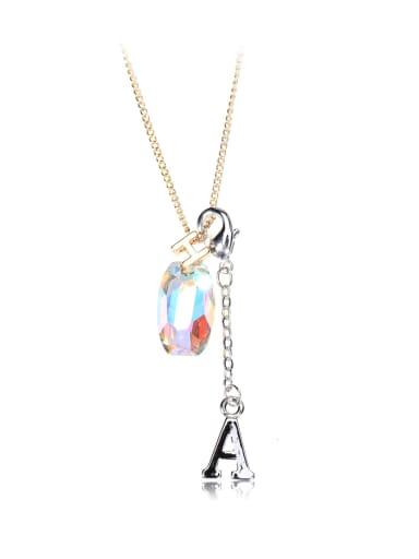 Ellipse crystal  letter A H Swarovski element crystal necklace