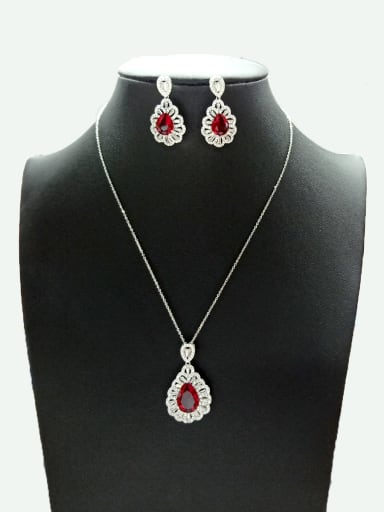Copper With White Gold Plated Fashion Water Drop Jewelry Sets