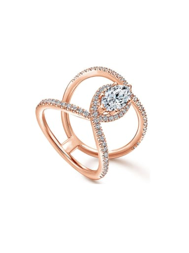 Copper With Rose Gold Plated Cubic Zirconia Statement Rings