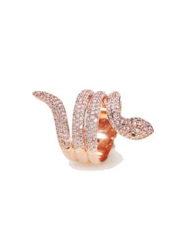luxurious Micro-inlay Full Zircon snake Bling bling ring