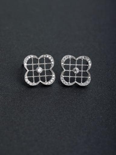 Micro inlay Rhinestone Four leaf 925 silver Stud earrings