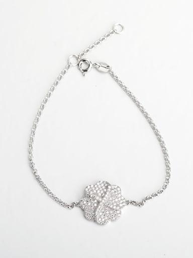 Minimalist design Rhinestone Flower 925 silver Bracelets
