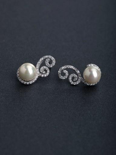 Micro inlay Zircon personality Imitation pearls 925 silver Drop Earrings