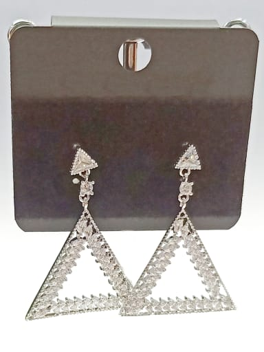 Copper With White Gold Plated Trendy Triangle Earrings