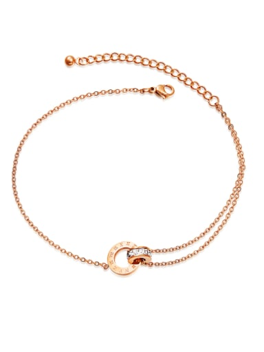 Stainless Steel With Rose Gold Plated Fashion Round Anklets