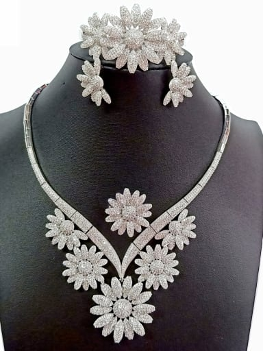 Copper With White Gold Plated Luxury Flower Jewelry Sets