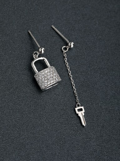 Micro inlay Zircon personality  Asymmetry  key Lock 925 silver Drop Earrings