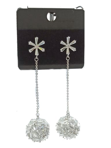 Copper With White Gold Plated Fashion Ball Earrings