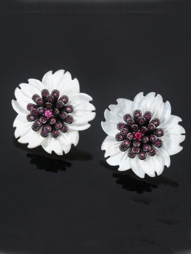 Copper With Shell Trendy Flower Stud Earrings