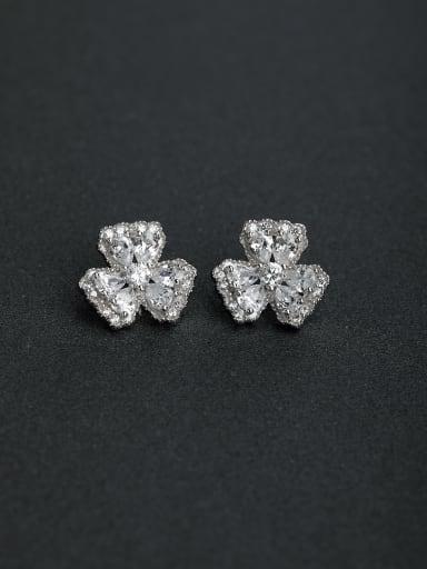 Elegant Micro inlay Zircon Flower 925 silver Stud earrings