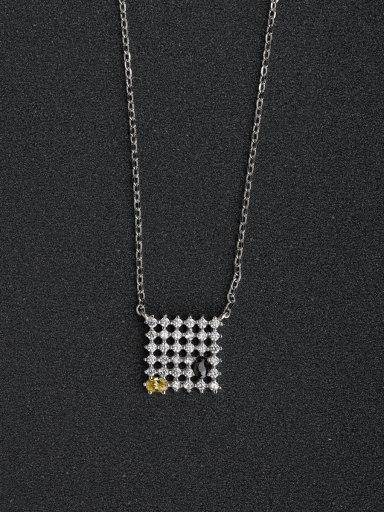 Micro inlay Zircon Square network 925 Silver Necklaces