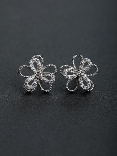 Micro inlay Zircon Lucky clover 925 silver Stud earrings