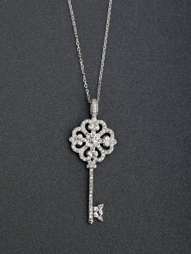 Fashion Heart Key Cubic Zirconias 925 Silver Necklaces