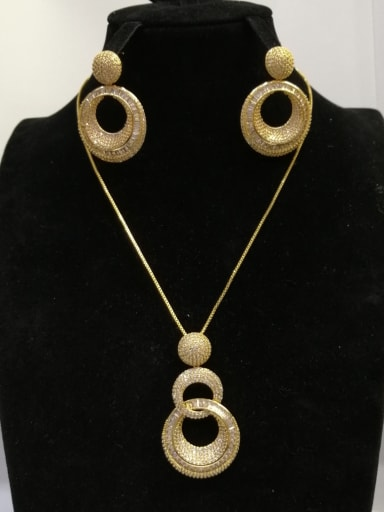 Copper With Gold Plated Fashion Round 2 Piece Jewelry Set