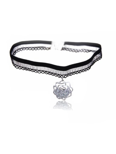 Stainless Steel With Fashion Animal/flower/ball Lace choker Necklaces