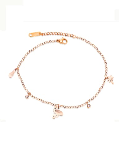 Stainless Steel With Rose Gold Plated Personality Animal Anklets