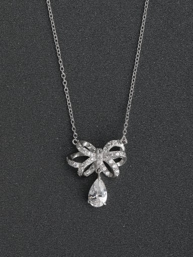 Micro inlay Zircon Abstract flowers 925 Silver Necklaces