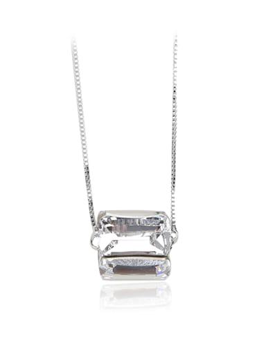 White solid crystal column Swarovski element crystal necklace