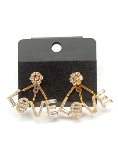 Copper With Gold Plated Fashion Letter Earrings