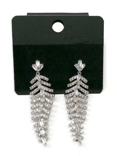 Copper With White Gold Plated Trendy Charm Earrings