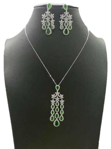 Copper With White Gold Plated Trendy Water Drop 2 Piece Jewelry Set