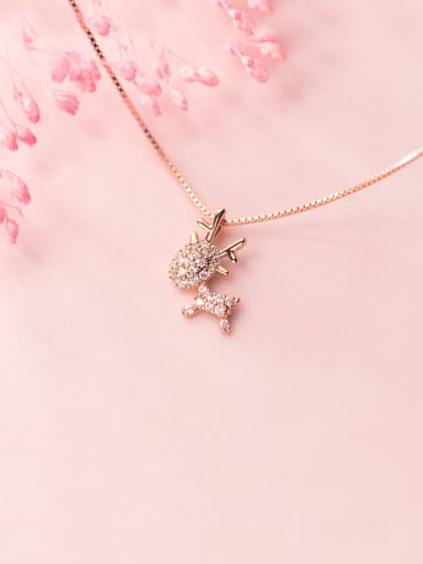 925 Sterling Silver With Rose Gold Plated Cute Small Elk  Necklaces