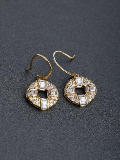 Micro inlay Zircon Bronze coins 925 silver Hook earrings