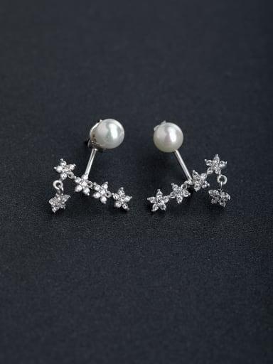 Elegant Micro inlay Zircon Star Pearl  925 silver Stud earrings