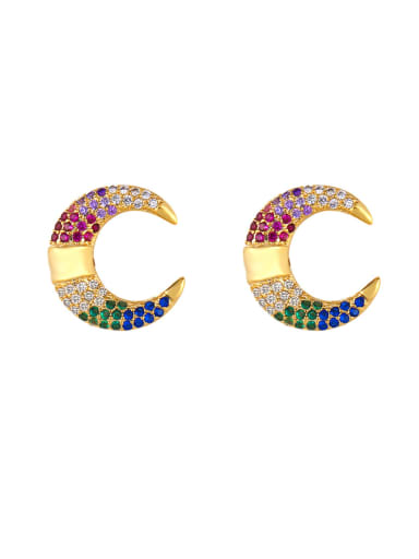 Copper With  Cubic Zirconia Fashion Moon/clip Cluster Earrings