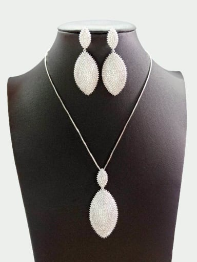 Copper With White Gold Plated Simplistic Oval Jewelry Sets
