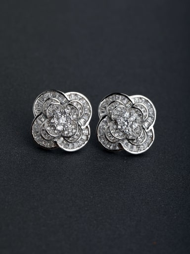 Micro inlay Zircon Lucky Clover flower 925 silver Stud earrings