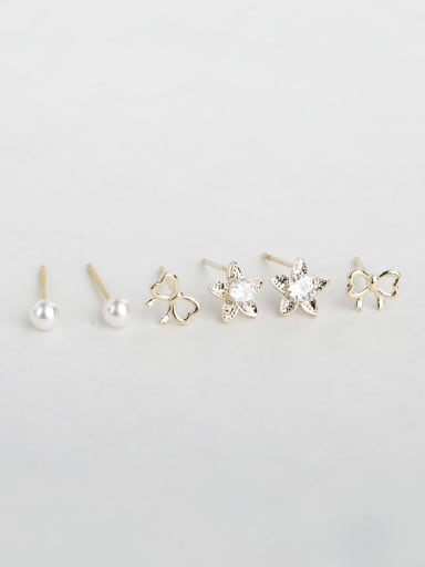 Shiny  Flowers butterflies beads zircon Multiple combinations Stud Earrings