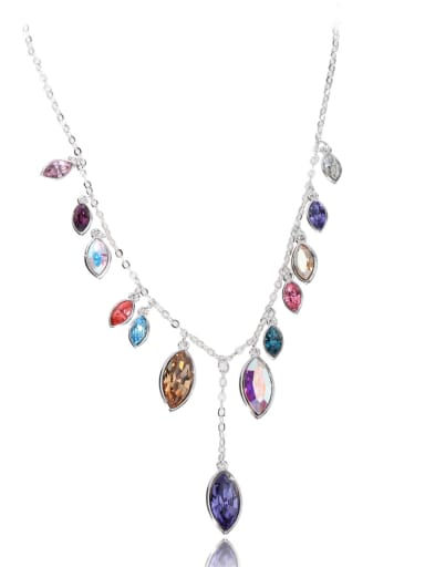 Horse Eye Stone gorgeous Swarovski element crystal necklace Multicolor