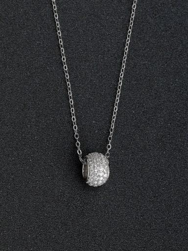 Micro inlay zircon ring pendants 925 silver necklace