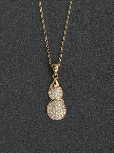 Simple full Rhinestone gourd 925 silver necklace