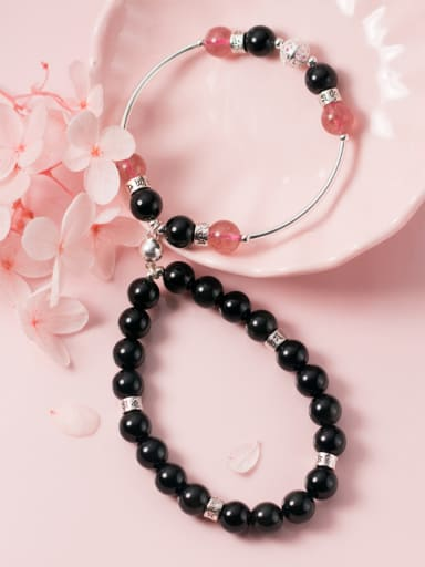 925 Sterling Silver With Silver Plated Romantic Obsidian Strawberry crystals Bracelets