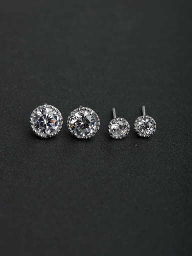Bling bling circular zircon 925 silver Stud earrings