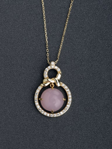 Micro inlay Zircon Number 8 gourd  Pink semi-precious stones 925 Silver Necklaces
