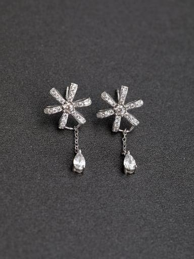 Inlaid  zircon Flower Water drop  delicate  925 Silver Earrings