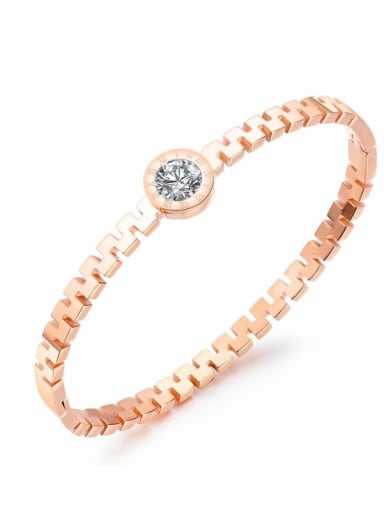Stainless Steel With Rose Gold Plated Simplistic Round Bangles