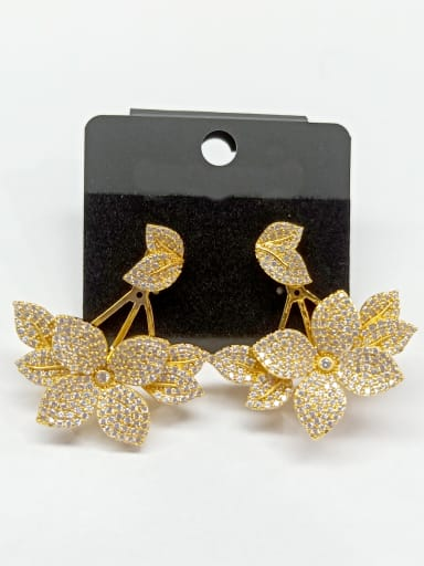Copper With Gold Plated Fashion Leaf Earrings