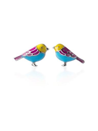925 Sterling Silver With Enamel  Fashion Little bird Stud Earrings