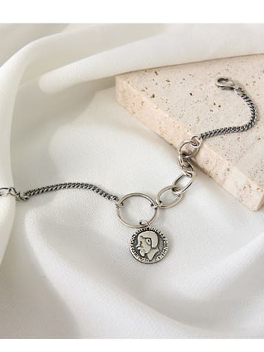 925 Sterling Silver With Antique Silver Plated Vintage human figure&coin pendant Bracelets