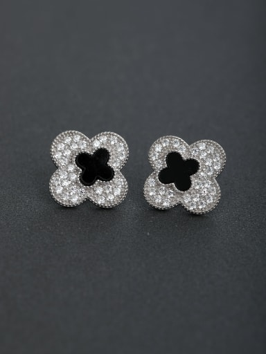 Micro inlay Zircon Lucky Clover 925 silver Drop Earrings