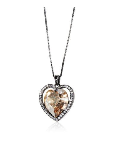 Heart-shaped crystal Swarovski element crystal necklace