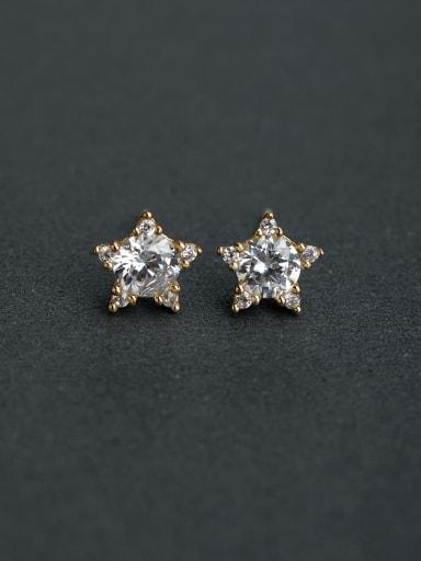 Micro inlay Zircon star  925 silver Stud earrings