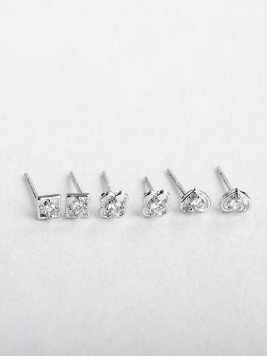 Round square heart Zircon cuff earrings